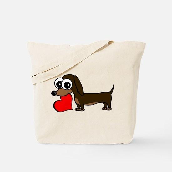 Cute Dachshund with Heart Tote Bag