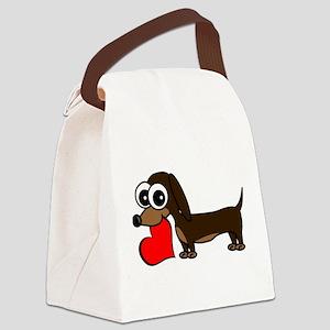 Cute Dachshund with Heart Canvas Lunch Bag