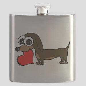 Cute Dachshund with Heart Flask