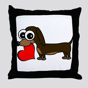 Cute Dachshund with Heart Throw Pillow