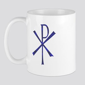 Faux Blue Tile Chi Ro Cross Mug