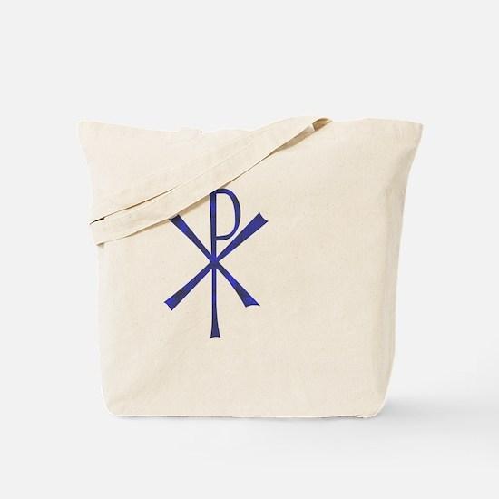 Faux Blue Tile Chi Ro Cross Tote Bag