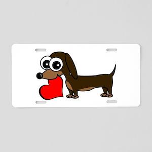 Cute Dachshund with Heart Aluminum License Plate