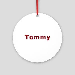 Tommy Santa Fur Round Ornament