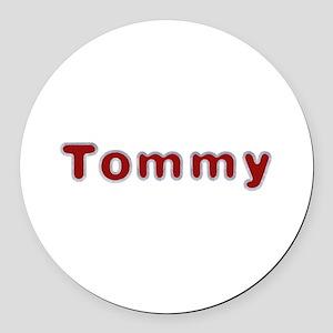Tommy Santa Fur Round Car Magnet