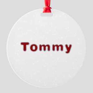 Tommy Santa Fur Round Ornament