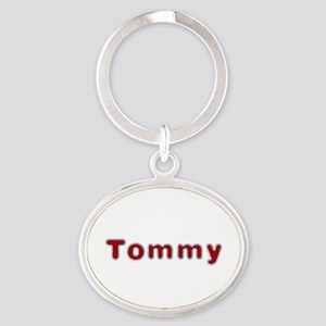 Tommy Santa Fur Oval Keychain