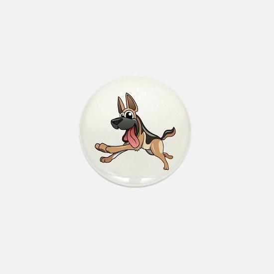 Cartoon German Shepherd Mini Button