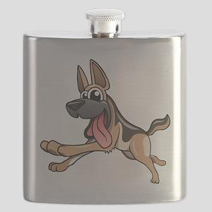 Cartoon German Shepherd Flask