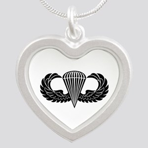 Jump Wings Stencil Silver Heart Necklace