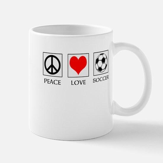 Peace Love Soccer Mugs