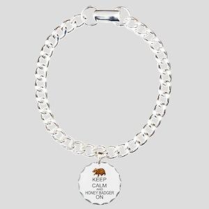 Keep Calm And Honey Badger On Charm Bracelet, One