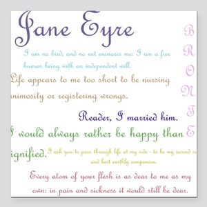 "Jane Eyre Quotes Square Car Magnet 3"" x 3"""