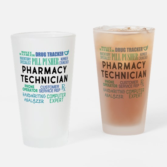 Pharmacy Technician Word Cloud Drinking Glass