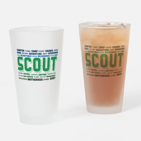 Scout Word Cloud Drinking Glass