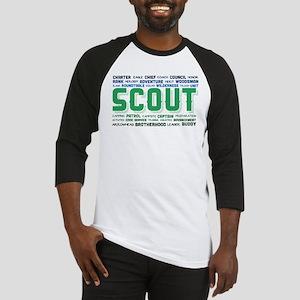 Scout Word Cloud Baseball Tee