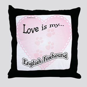 Love is my English Foxhound Throw Pillow