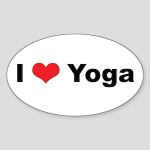 I Love (Heart) Yoga Oval Sticker