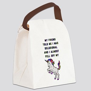 I Almost Fell Off My Unicorn Canvas Lunch Bag