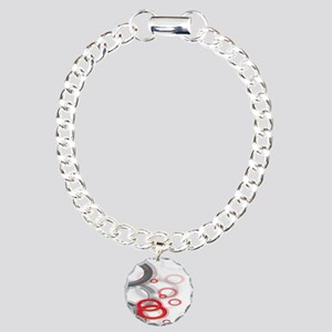 Falling Gray and Red Circles Bracelet