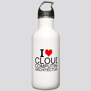I Love Cloud Computing Architecture Water Bottle