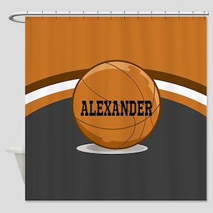 Stylish Custom Basketball Theme Shower Curtain