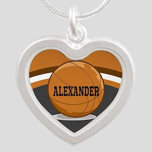 Stylish Custom Basketball Theme Silver Heart Neckl