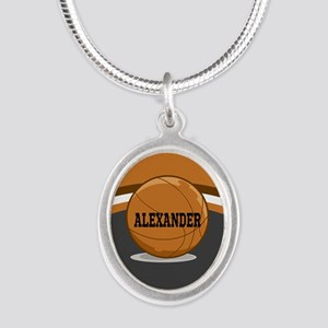 Stylish Custom Basketball Theme Silver Oval Neckla
