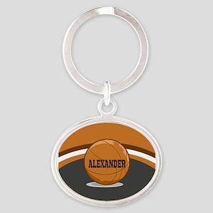 Stylish Custom Basketball Theme Oval Keychain