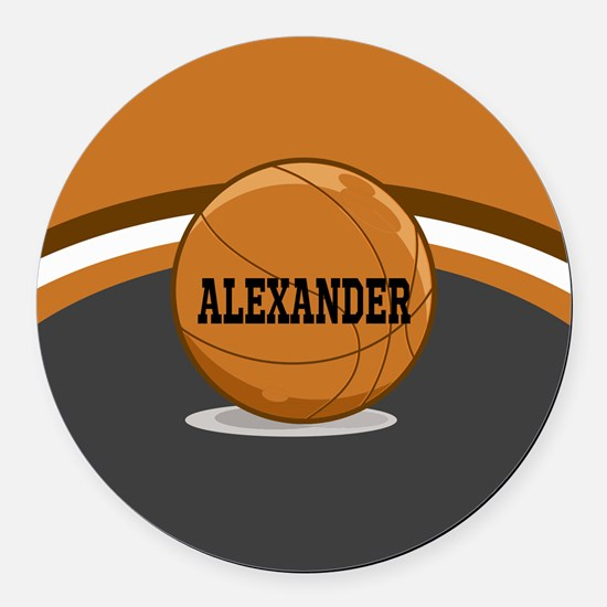 Stylish Custom Basketball Theme Round Car Magnet