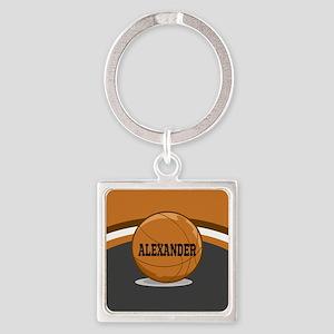 Stylish Custom Basketball Theme Square Keychain