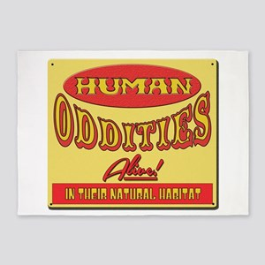 Human Oddities with faded background 5'x7'Area Rug