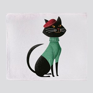 Paris Kitten Throw Blanket