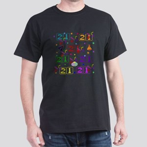 21st Rainbow Birthday Dark T-Shirt