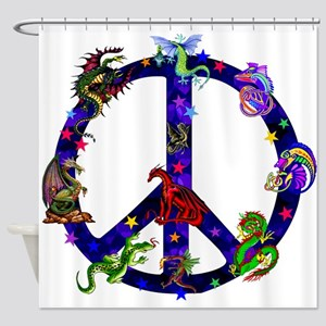 Dragons Peace Sign Shower Curtain