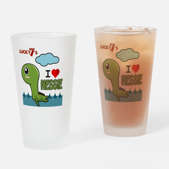 Lucky7's I love Nessie Drinking Glass
