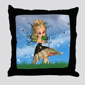 Fairy On Mushroom Kissing Frog Prince Throw Pillow