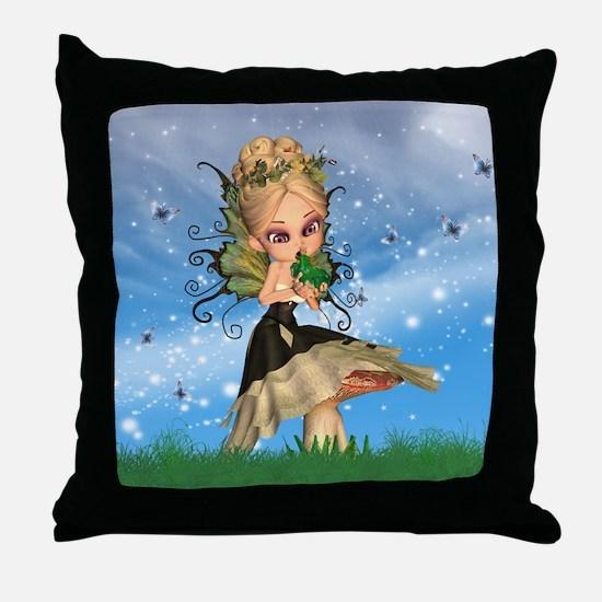 Fairy On Mushroom Kissing Frog Prince Throw Pillow