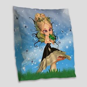Fairy On Mushroom Kissing Frog Burlap Throw Pillow