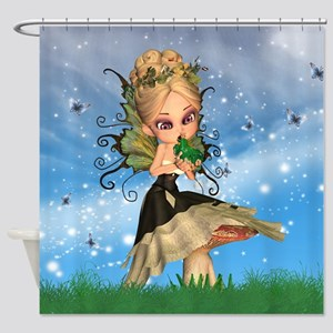 Fairy On Mushroom Kissing Frog Shower Curtain