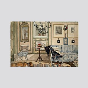 Cosy Corner, painting by Carl Lar Rectangle Magnet