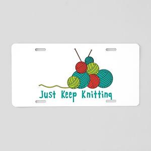 Just Keep Knitting Aluminum License Plate