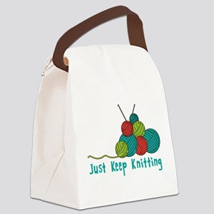 Just Keep Knitting Canvas Lunch Bag