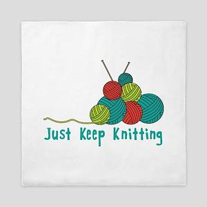 Just Keep Knitting Queen Duvet