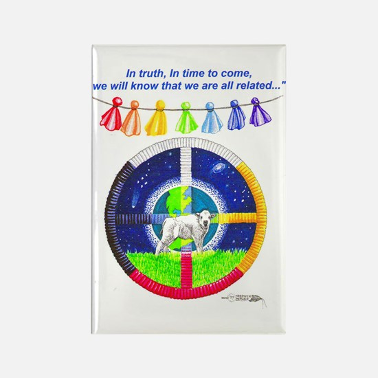White Buffalo Calf Prophecy Rectangle Magnet