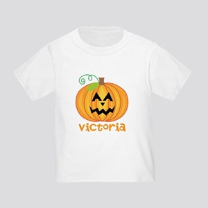 Personalized Halloween Pumpkin Toddler T-Shirt