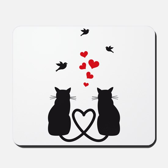 cats in love with birds and red hearts Mousepad