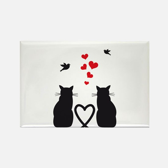 cats in love with birds and red hearts Magnets