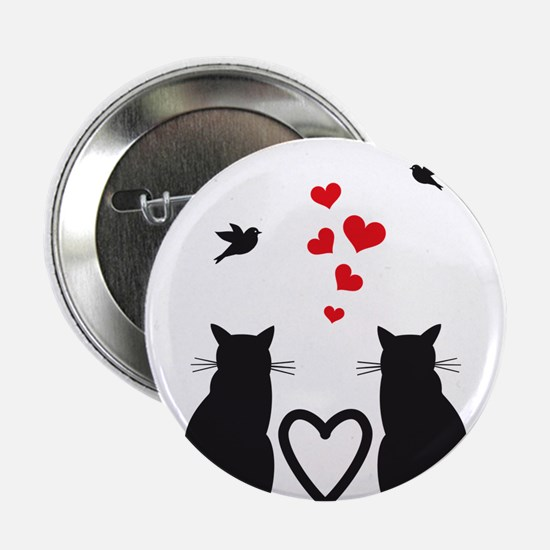 """cats in love with birds and red hearts 2.25"""" Butto"""