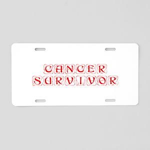 cancer-survivor-kon-red Aluminum License Plate